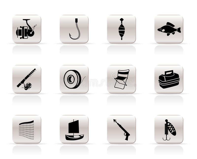 Simple Fishing and holiday icons vector illustration