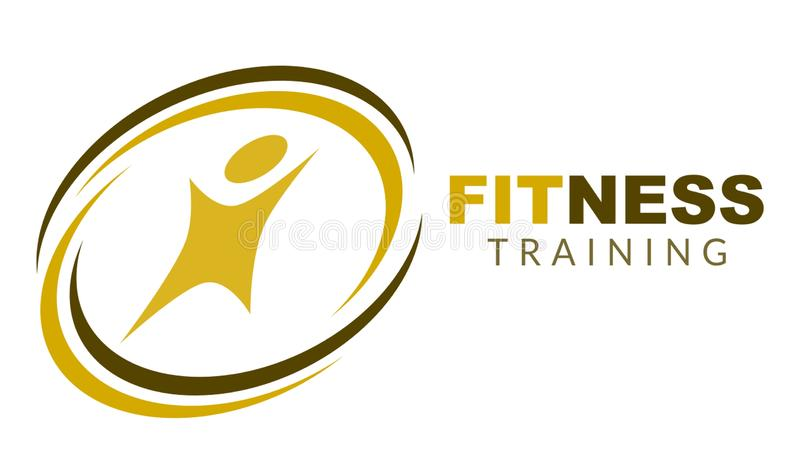 Simple Fitness Logo. Two colors with text fitness training vector illustration