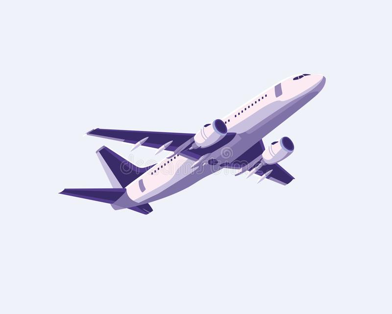Simple flat airplane design with purple color stock illustration