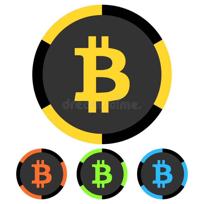 Simple, flat bitcoin chip icon. Four color variations. Isolated on white vector illustration