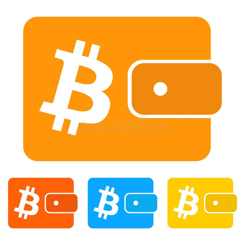 Simple, flat bitcoin wallet icon. Four variations stock illustration
