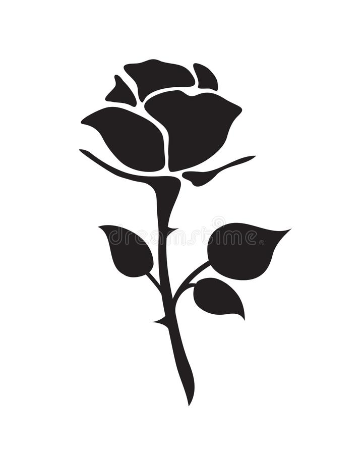 Simple flat black rose hand drawn romance flower icon ill. Lustration vintage style isolated on white royalty free illustration