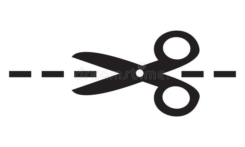 Simple flat black vector scissors icon, cut here line symbol royalty free illustration