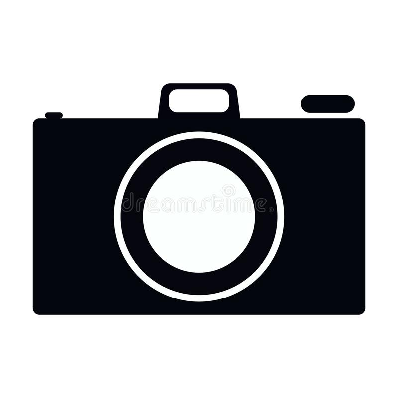 Simple, flat, black and white camera icon silhouette. Isolated on white. Simple, flat, black and white camera icon silhouette. Isolated on a white background royalty free illustration