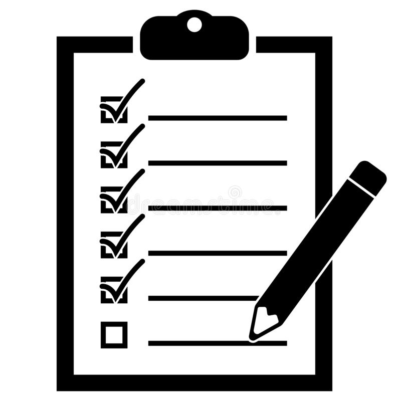 Simple flat black and white checklist on clipboard icon vector illustration