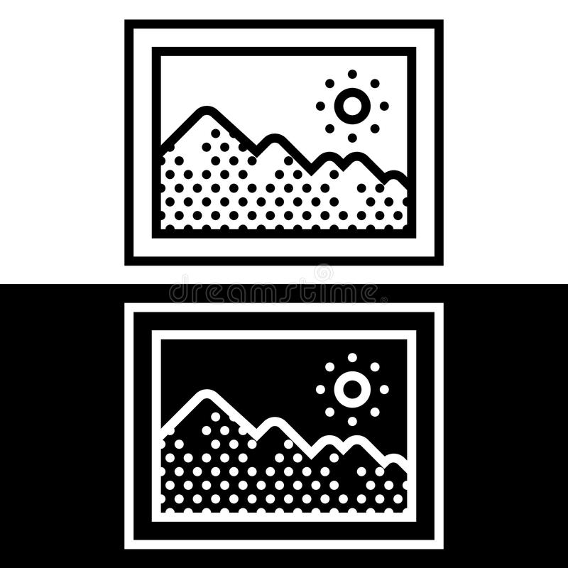 Simple, flat, black and white picture frame icon vector illustration