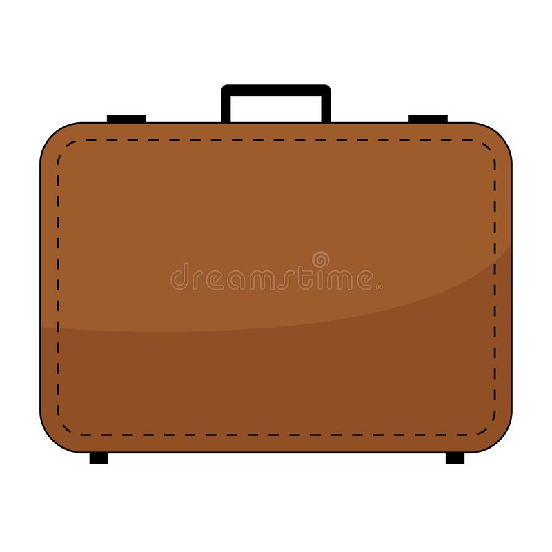 Simple, flat, brown suitcase/briefcase icon. Isolated on white vector illustration