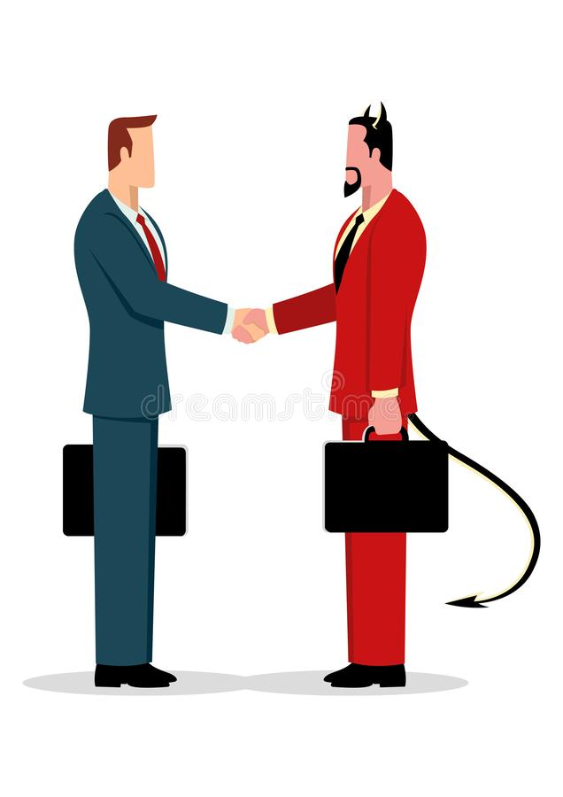 Businessman making a deal with the devil stock illustration
