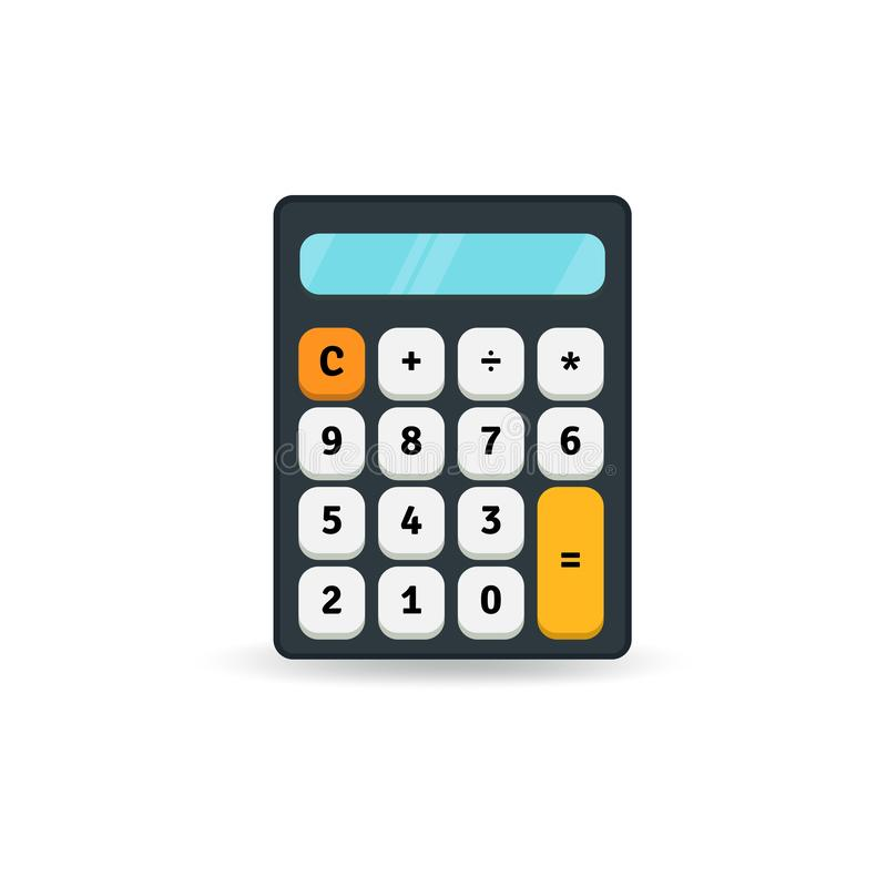 Simple flat calculator icon isolated on white background. Design element. stock illustration