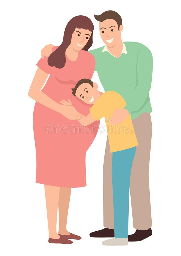 Boy hugging his pregnant mother. Simple flat cartoon illustration of happy family, a boy hugging his pregnant mother hearing inside her belly. Pregnancy and stock illustration