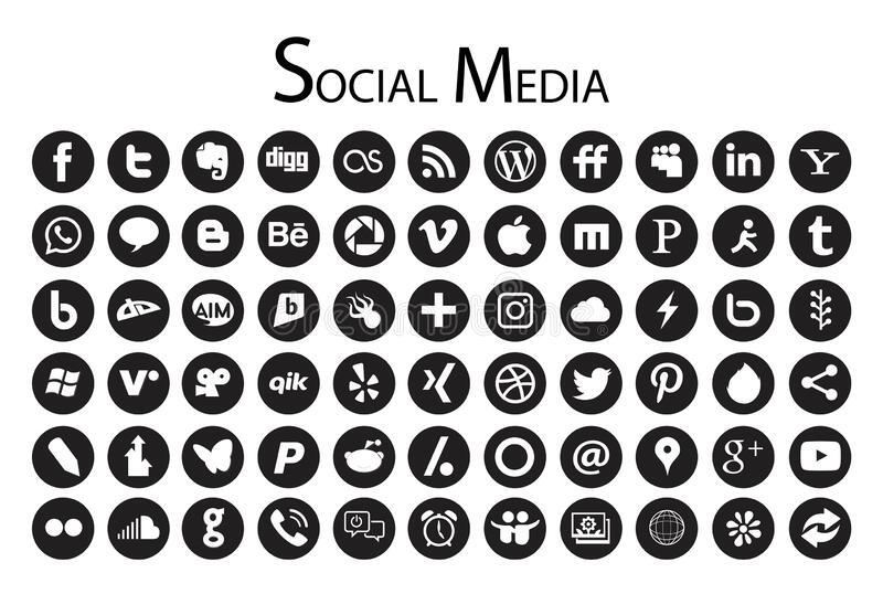 66 Circle Social Media Icons black and white. 66 simple flat circle Social Media icons collection, black, the base must have set of icons for webdesign and