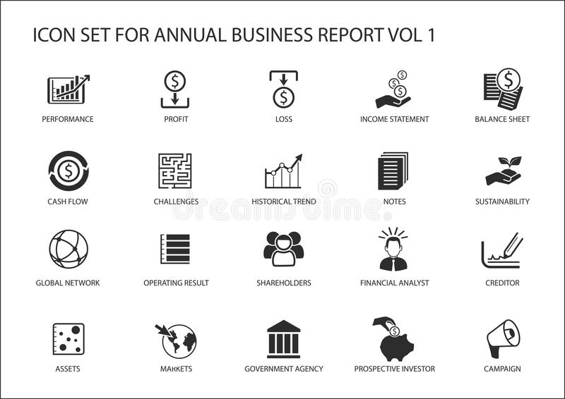 Simple flat design business icons for annual company business report.  royalty free illustration