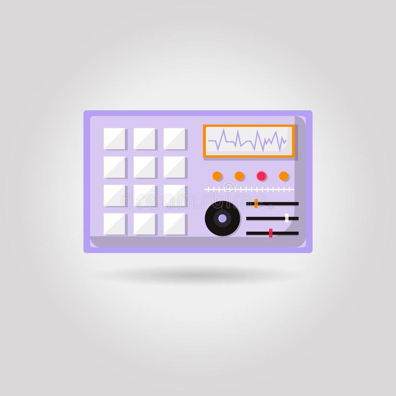 Simple flat dj turntables illustration, grayscale on white background royalty free illustration