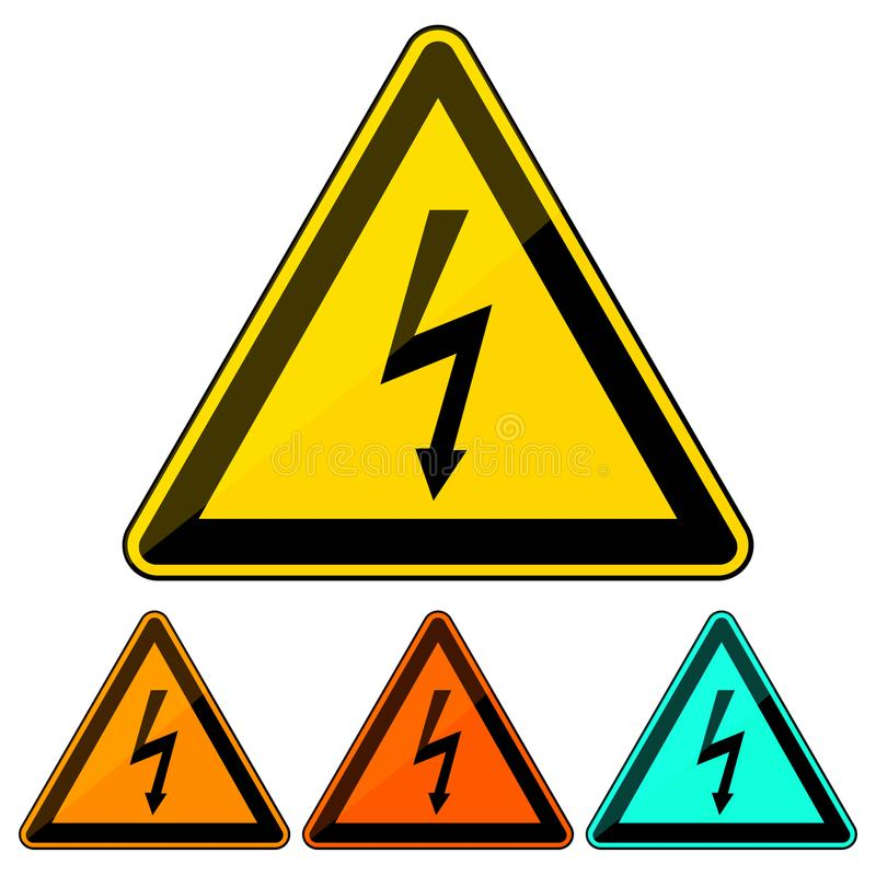Simple, flat electricity hazard warning sign/icon. Four color variations. Isolated on white vector illustration