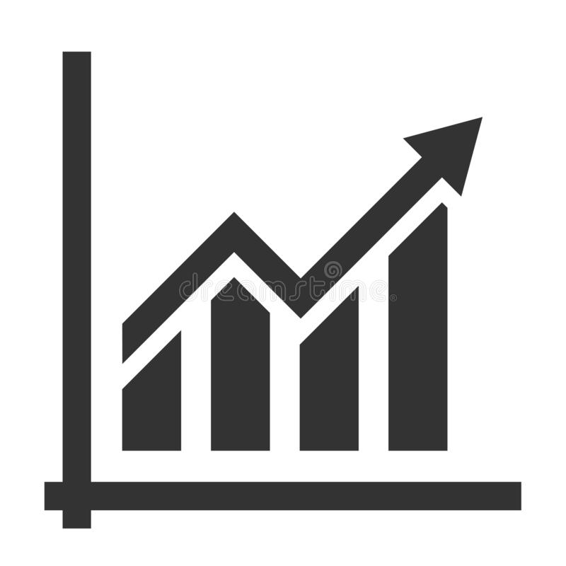 Simple flat financial growth chart icon or symbol. Vector illustration royalty free illustration