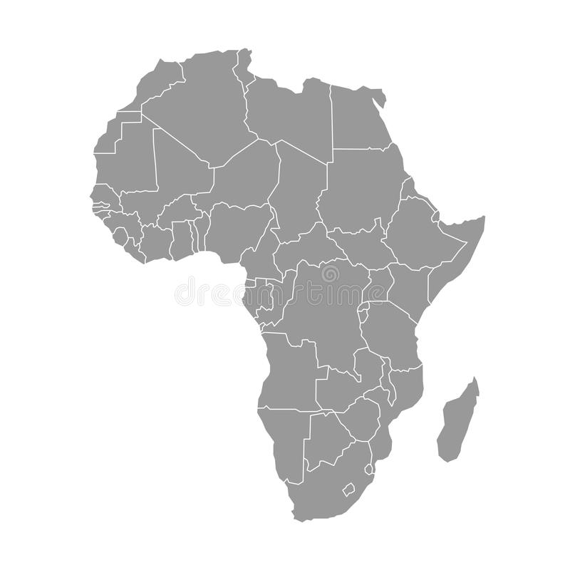 Simple flat grey map of Africa continent with national borders on white background. Vector illustration.  vector illustration