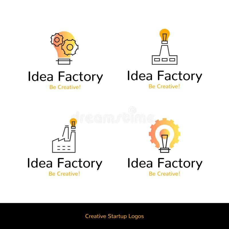 Simple flat line icons Idea Factory creative startup logos,web online concept.Logo of gear,cogwheel,idea bulb,chimney stock illustration
