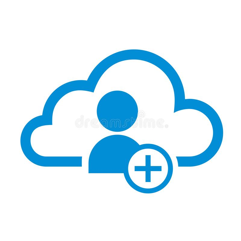 Simple Flat Minimalist Cloud Add User App Icon stock illustration