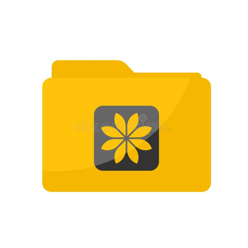 Simple Flat minimalist yellow Picture Gallery folder icon in rounded square style royalty free illustration