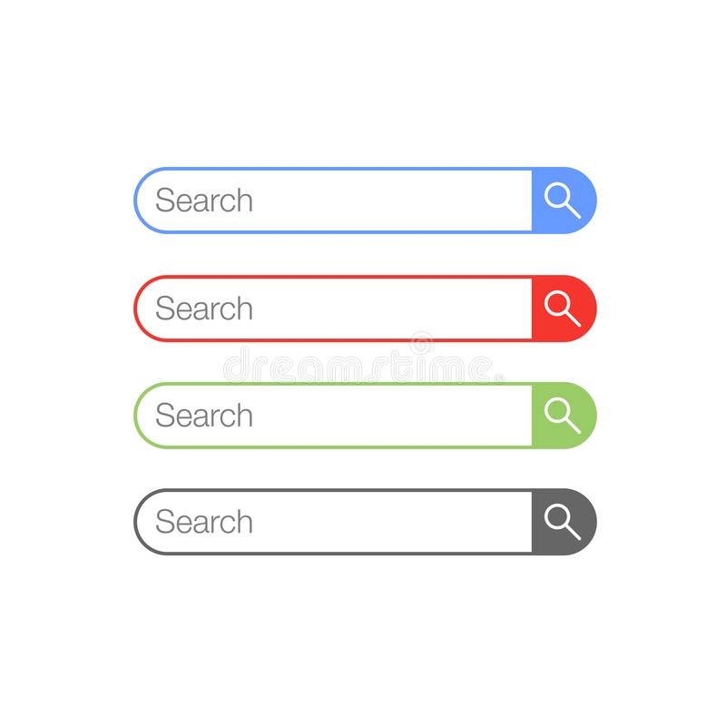 Simple Flat Minimalist Rounded Search Button Icon stock illustration