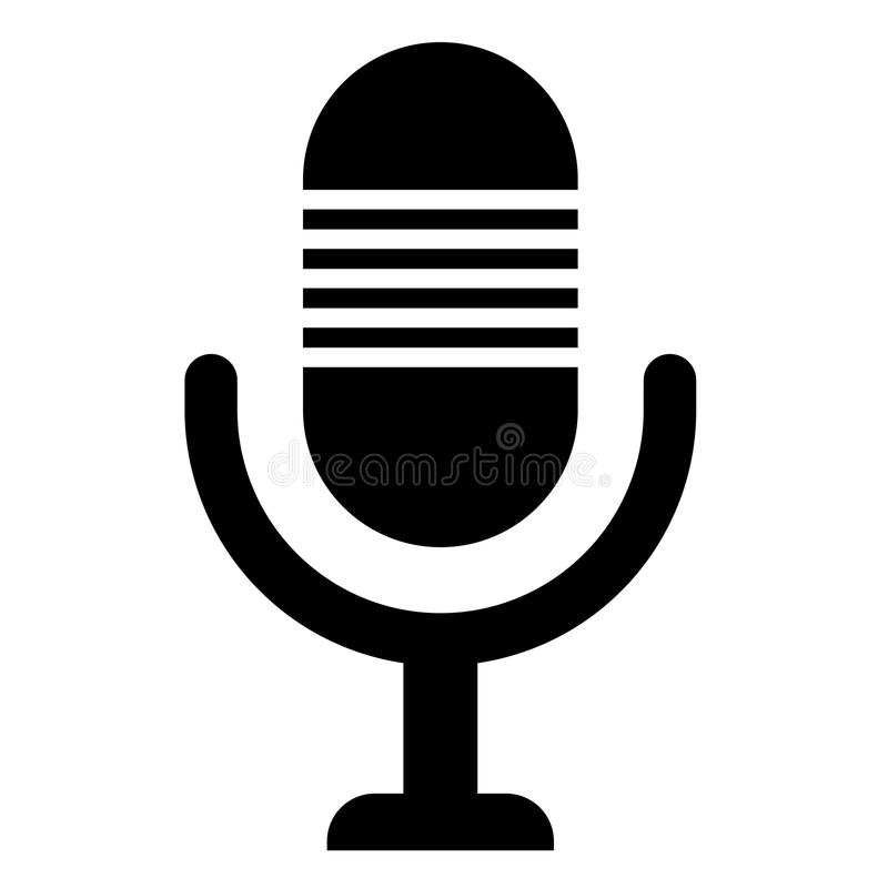Simple, flat, monochrome microphone black with horizontal lines icon royalty free illustration