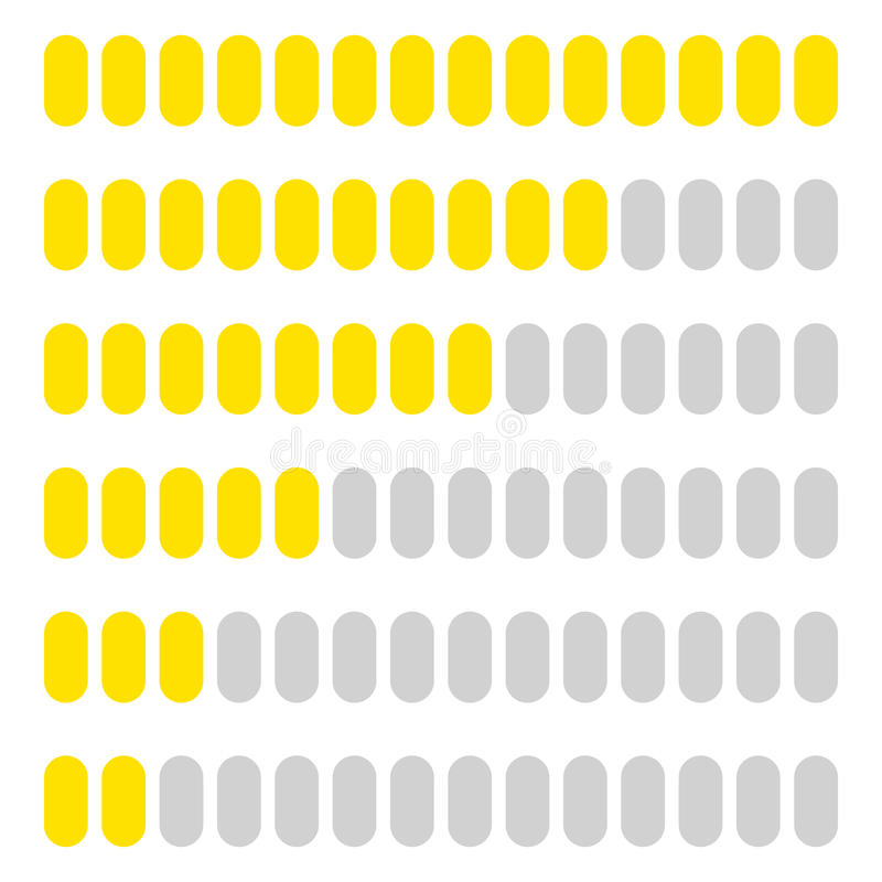 Simple, flat progress, level indicator, loading bar set at diffe. Rent levels - Royalty free vector illustration stock illustration