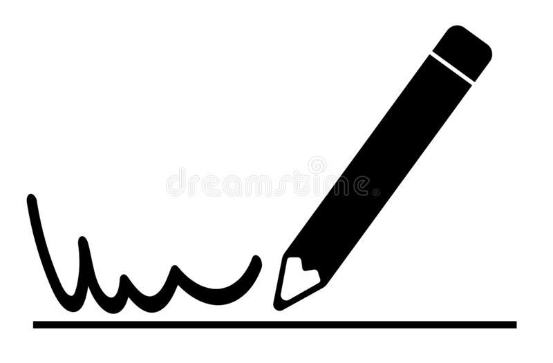 Simple flat signature signing a document icon vector illustration