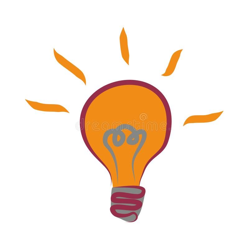 Simple flat tricolor vector icon of glowing light bulb. Clipart electric light bulb - a symbol of knowledge, intelligence,. Learning royalty free illustration