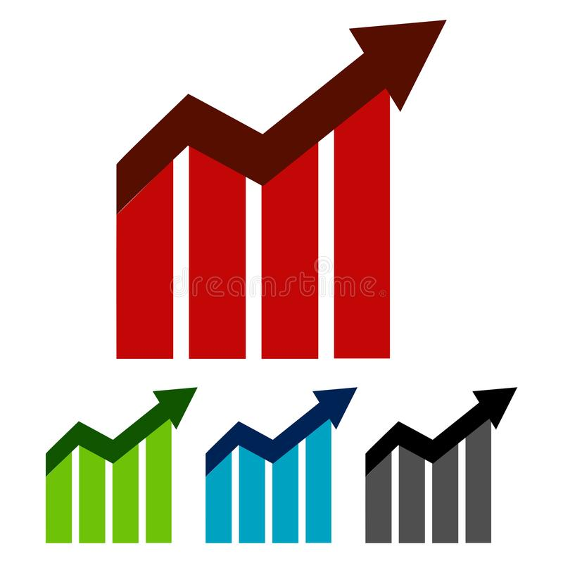 Simple, flat up trending graph. Business graphic. Four color variations. Isolated on white. Simple, flat up trending graph. Business graphic. Four color stock illustration