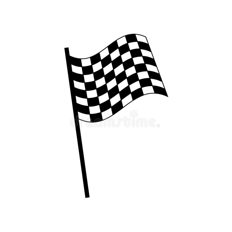 Simple, flat black and white racing flag royalty free illustration