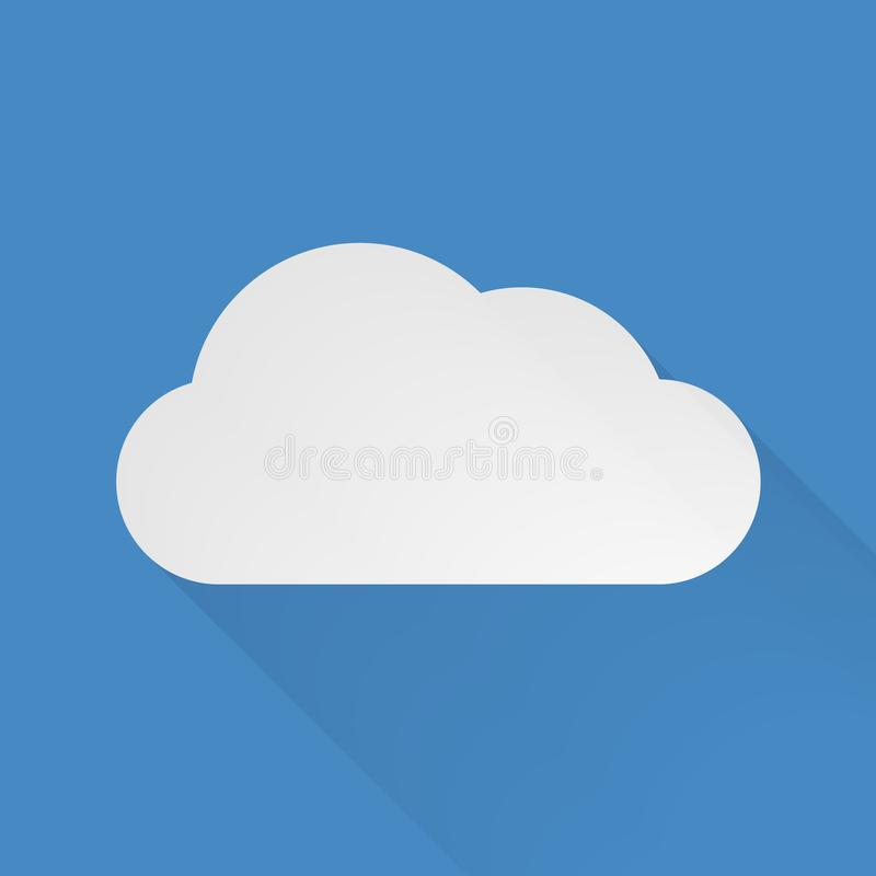 Flat, simple, vector cloud. A simple, flat, vector cloud with a shadow. Isolated on a shade of blue stock illustration