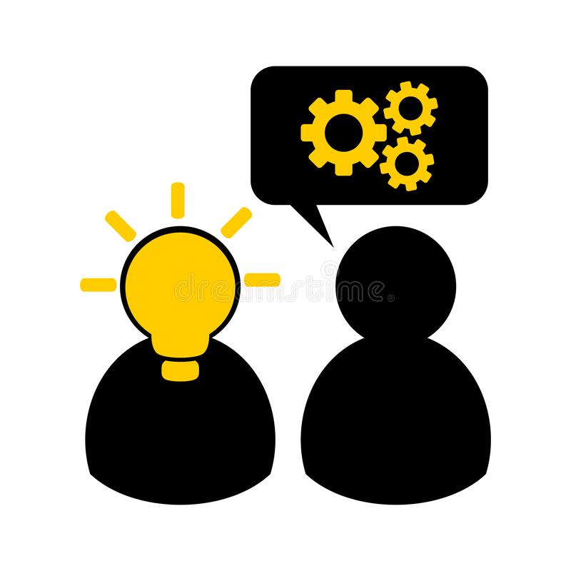 Simple flat vector icon - concept of teamwork, counseling, sharing an ideas. Symbols of two people with a light bulb in their head vector illustration