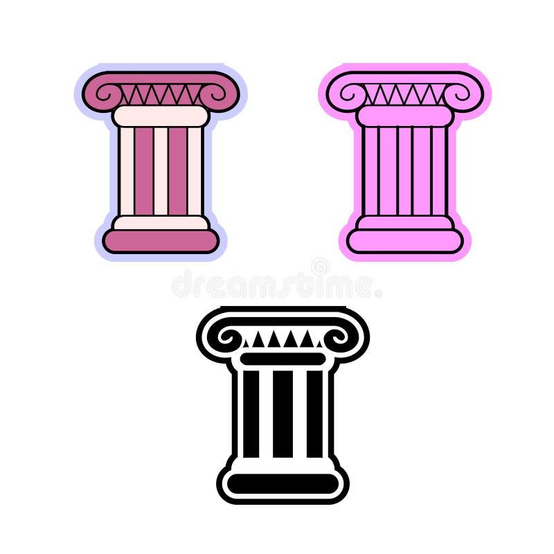 Simple flat vector icon of Roman or Greek pillar the Ionic order column royalty free illustration