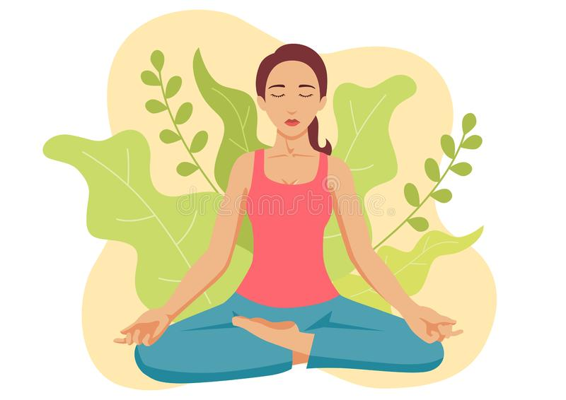 Woman Yoga or Meditating vector illustration