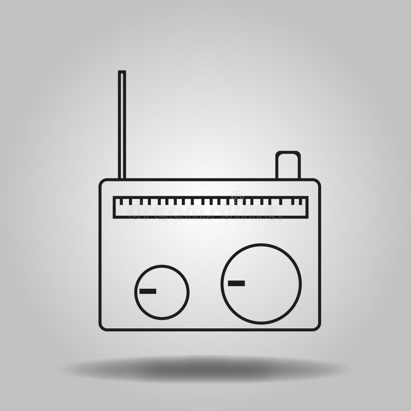 Simple flat vintage radio icon, grayscale on white background stock illustration