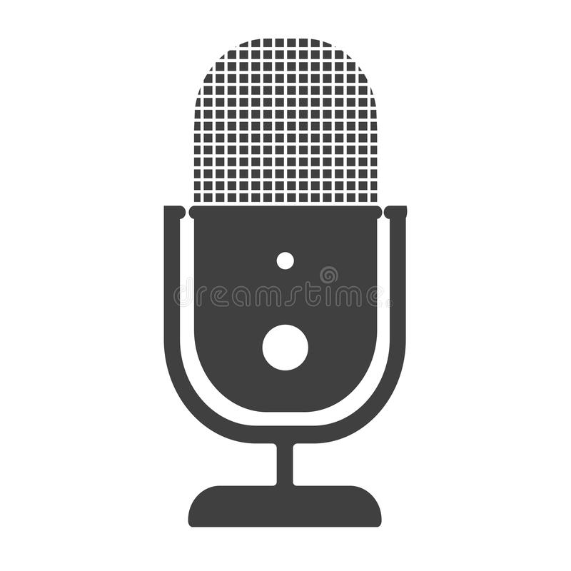Simple flat voice recording microphone icon or symbol royalty free illustration