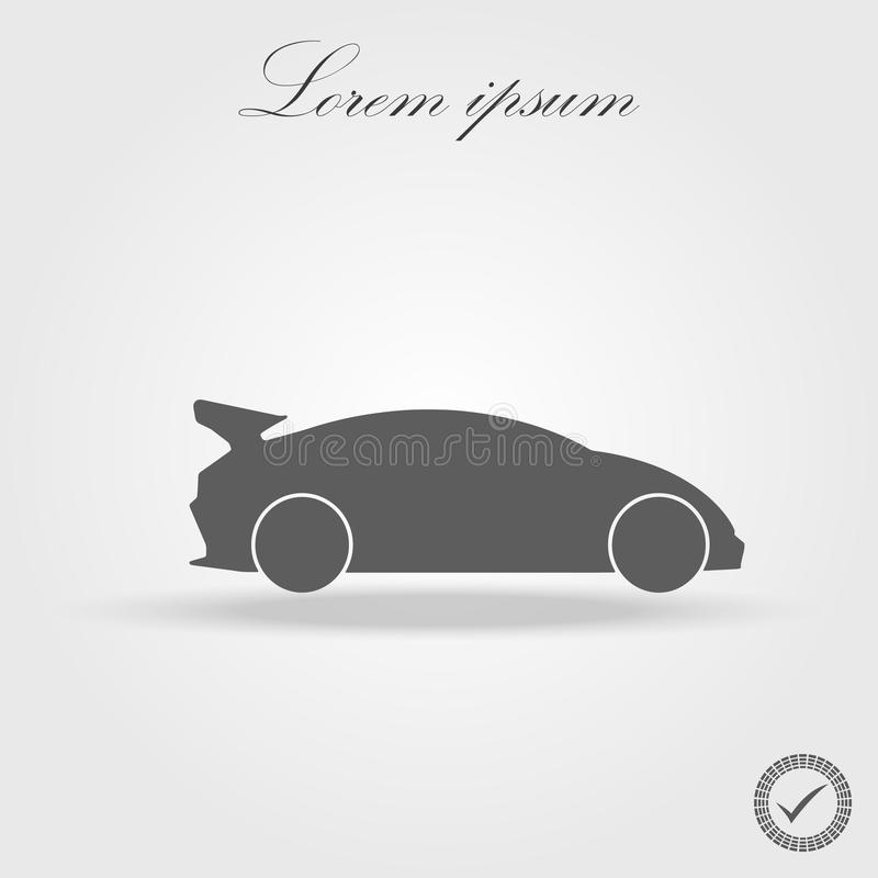 Simple floating sports car icon viewed from the side colored in flat black with detailed rims and drop shadow. Eps 10 royalty free illustration