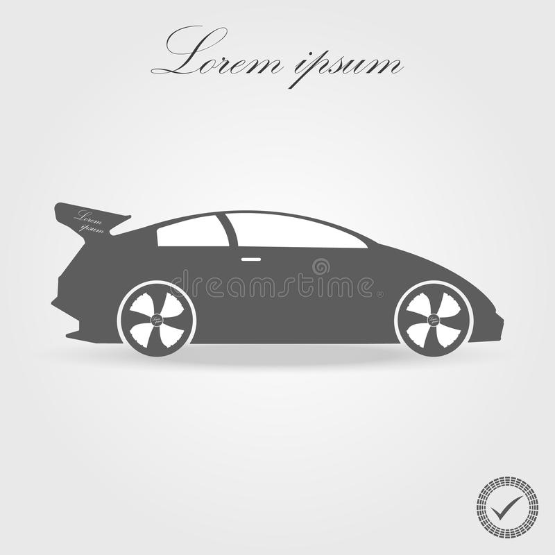 Simple floating sports car icon viewed from the side colored in flat black with detailed rims and drop shadow. Simple floating sports car icon viewed from the stock illustration