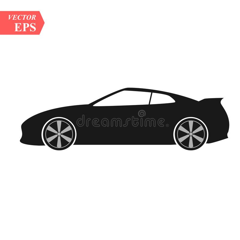 Simple floating sports car icon viewed from the side colored in flat black with detailed rims. Eps10 stock illustration