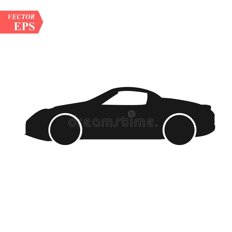 Simple floating sports car icon viewed from the side colored in flat black with detailed rims. Eps10 vector illustration