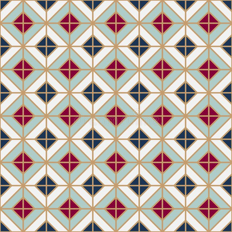 Simple floor tile pattern, abstract geometric seamless background. Portuguese ceramic tiles stock illustration