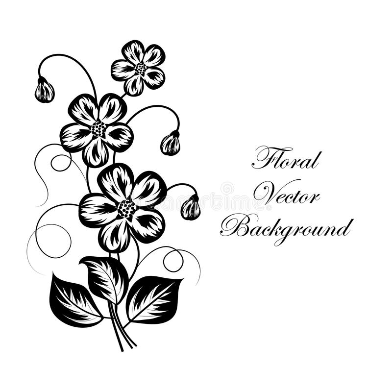 Download simple floral background in black and white stock vector illustration of artwork contour