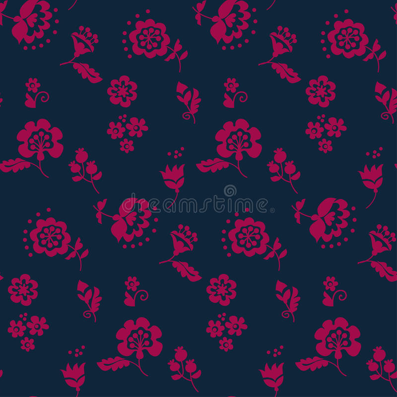 Simple floral decorative seamless pattern stock illustration
