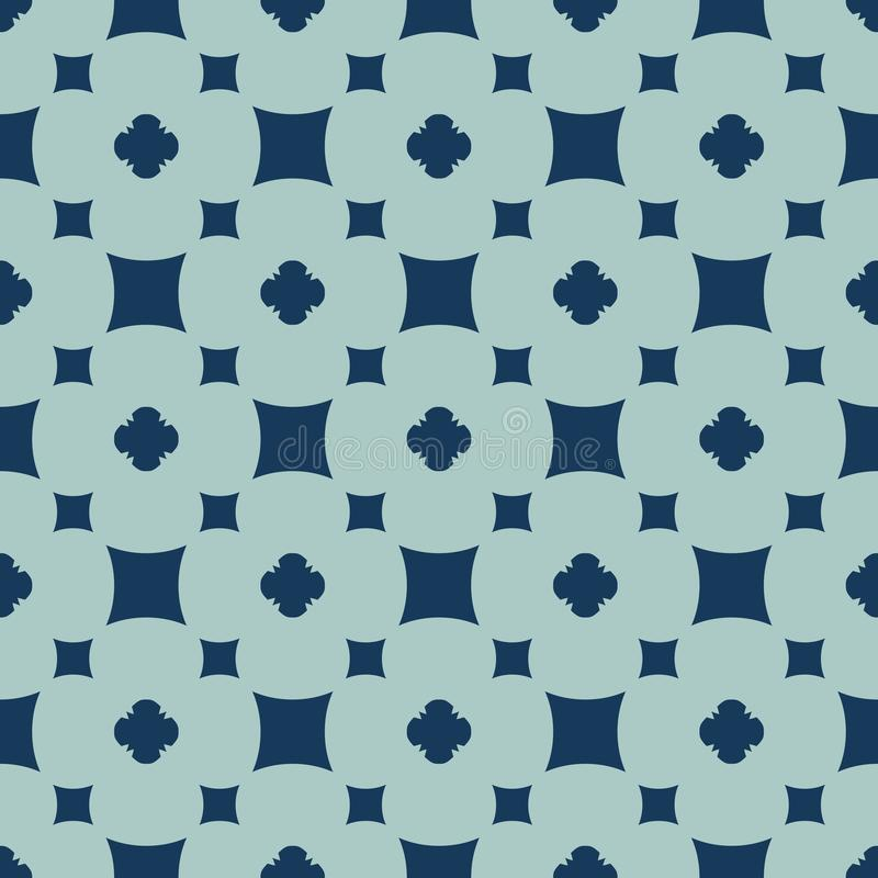 Simple vector floral geometric seamless pattern. Dark blue and turquoise color vector illustration