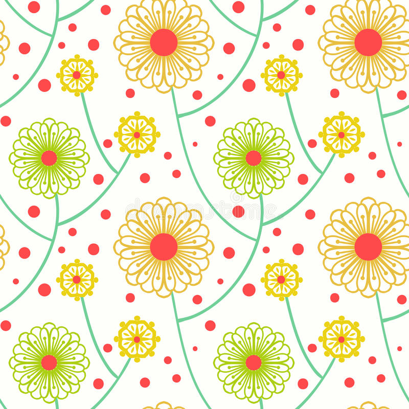 Simple floral pattern with bold flowers stock illustration