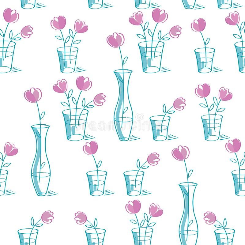 Simple floral seamless pattern with hand drawn pink flowers. royalty free illustration