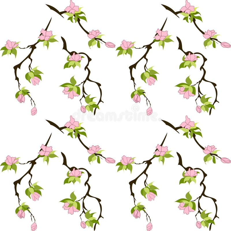 Simple floral seamless pattern. Pink flowers with green leaves on brown branches. cherry, sakura. Elegant template for royalty free illustration