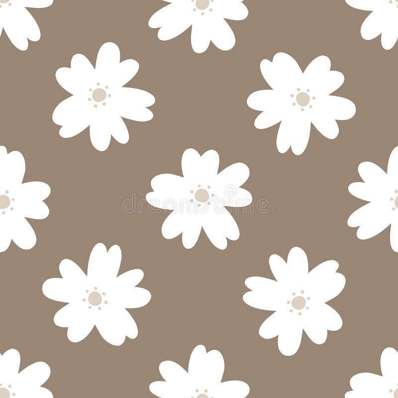 Simple floral seamless pattern. Repeated white flowers on a brown background. stock illustration