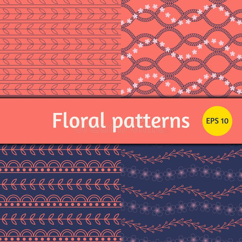 Simple floral vector patterns set, collection in coral and blue colors royalty free illustration