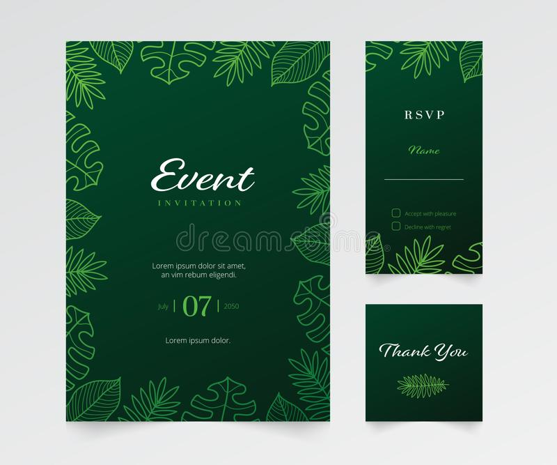 Simple floral event invitation template stock photography